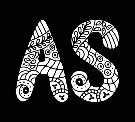 Letters A & S in creative hand drawn  calligraphy mosaic style. High detail  letters for decoration. Isolated vector illustration.
