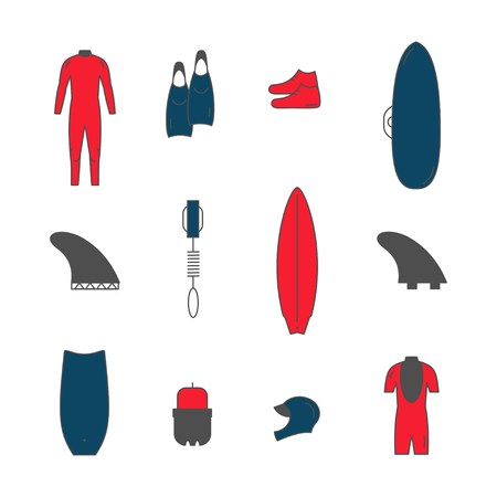 Collection of surfing goods icons. .Line icons Illustration