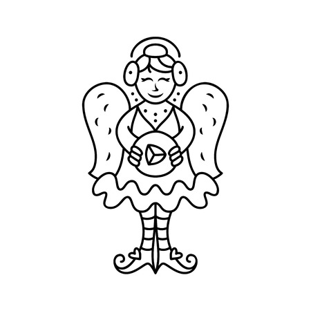 amur: Love angel. Cute fairy with game button. Thin line art icons set. Concept for card, poster, design invitation or banner.