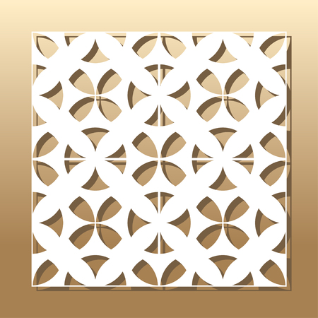 Die cut card. Laser cut vector panel. Cutout silhouette with botanical pattern. A picture suitable for printing, engraving, laser cutting paper, wood, metal, stencil manufacturing.