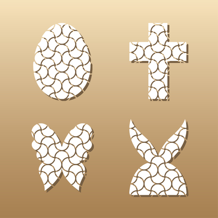 Easter lace plates mock-ups for gift tags, cake toper and cards. Cutout logos of egg, rabbit, butterfly and cross. Template laser cutting machine for wood, metal and paper. Creative illustrations for stickers or applications. Illustration