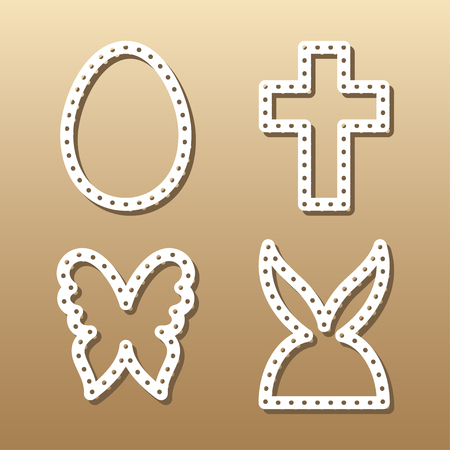 plywood: Easter lace plates mock-ups for gift tags, cake toper and cards. Cutout logos of egg, rabbit, butterfly and cross. Template laser cutting machine for wood, metal and paper. Creative illustrations for stickers or applications. Illustration