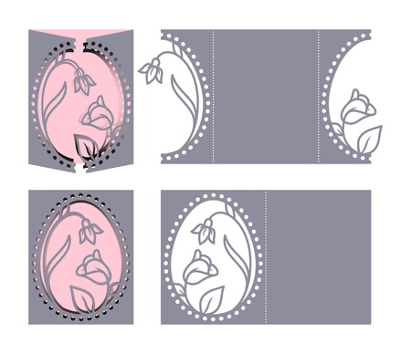 perforated: Laser cut template for Easter greeting fold-out cards, invitations. Easter egg with a floral pattern cut out of paper. Image suitable for laser cutting, plotter cutting or printing. Illustration