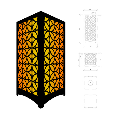 plywood: Cut out template for lamp, candle holder, lantern or chandelier (plywood 3mm).  Shadow box with oriental geometric design. Scheme is suitable for a laser cutting or printing