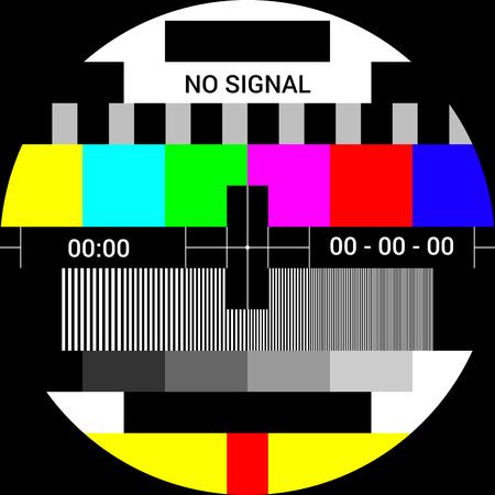 TV test card with rainbow multi color bars, geometric signals. Retro hardware 1980s. Minimal pop art print is suitable for a textile, walls, floors Ilustração