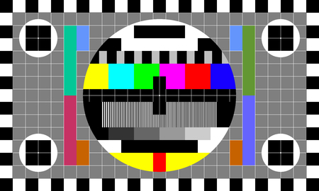 TV test card with rainbow multi color bars, geometric signals. Retro hardware 1980s. Minimal pop art print is suitable for a textile, walls, floors Vettoriali