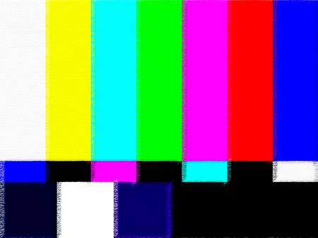레인보우 멀티 컬러 막대, 기하학적 신호와 함께 TV 테스트 카드. 1980 년대 복고풍 하드웨어. 글리치 아트 정적 오류, 깨진 전송을 보여줍니다. 최소한의