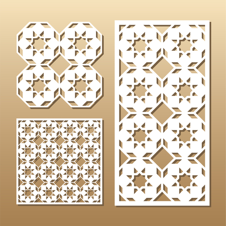 royal wedding: Die cut card. Laser cut vector panel. Cutout silhouette with geometric pattern. A picture suitable for printing, engraving, laser cutting paper, wood, metal, stencil manufacturing.