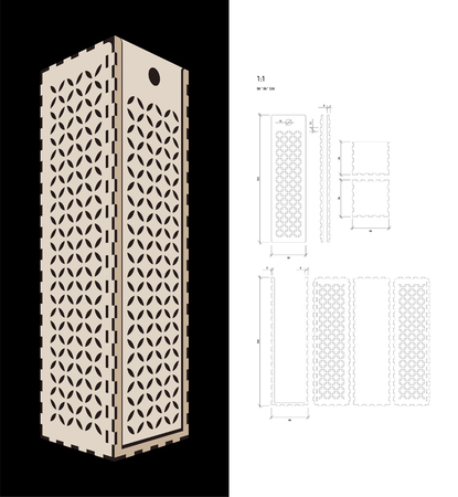 plywood: Cut out template for Wine gift slider Box (plywood 3 mm). Creative memory bottle pack with geometric design. Scheme is suitable for a laser cutting or printing