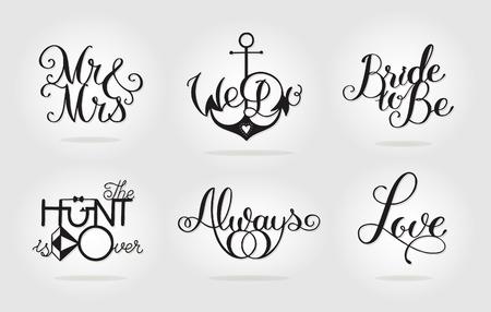 書道アート レディー メード デザイン。ユニークなモノクロの結婚式のセットは、テーブルの恋人の署名します。画像は印刷、彫刻、レーザーの切