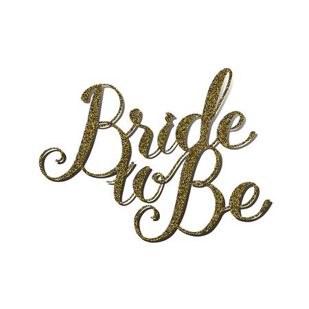 Vector citaat 'Bruid om te zijn' met gouden glitter effect. Met de hand gemaakt uniek huwelijks romantisch silhouet. Een foto is geschikt voor afdrukken, graveren, lasersnijden van papier, hout, metaal, stencilproductie