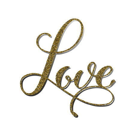 Vector word Love with gold glitter effect. Handmade unique wedding romantic silhouette. A picture is suitable for printing, engraving, laser cutting paper, wood, metal, stencil manufacturing.