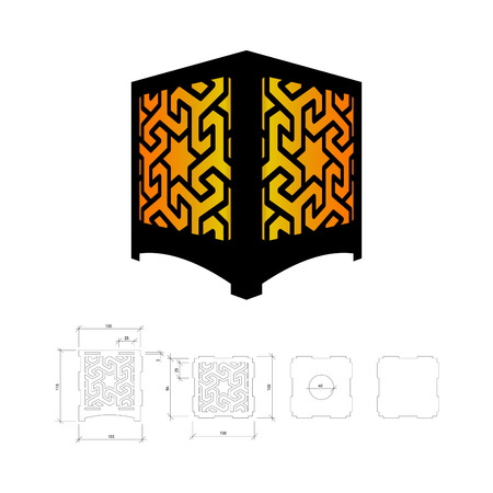 plywood: Cut out template for lamp, candle holder, lantern or chandelier (plywood 3 mm).  Shadow box with oriental geometric design. Scheme is suitable for a laser cutting or printing
