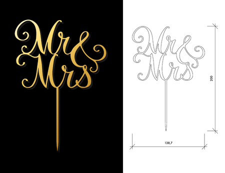 Die cut Cake Topper. Laser cut vector words Mr and Mrs. Cutout handmade silhouette for unique wedding decor. The table sign is suitable for way to top of cake in wedding, engagement, or anniversary Ilustração