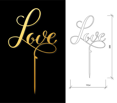 Gestanste taart Topper. Lasergesneden vectorwoord 'Love'. Uitgesneden handgemaakt silhouet voor een uniek huwelijksdecor. Het tafelbord is geschikt om naar de top van de taart te gaan tijdens huwelijk, verloving of jubileum