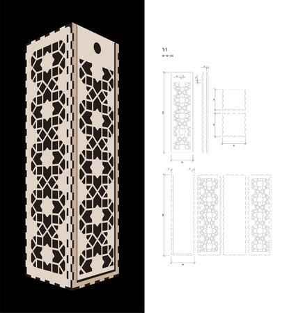 Modèle découpé pour coque de cadeau de vin (contreplaqué 3 mm). Pack de bouteilles de mémoire créative avec un design géométrique. Scheme convient à une découpe au laser ou à une impression Banque d'images - 79348250
