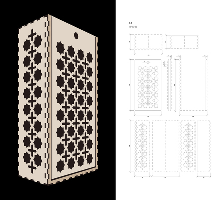 plywood: Cut out template for two bottles Wine gift slider Box or Wine  Glass Box (plywood 3 mm). Scheme is suitable for a laser cutting or printing Illustration