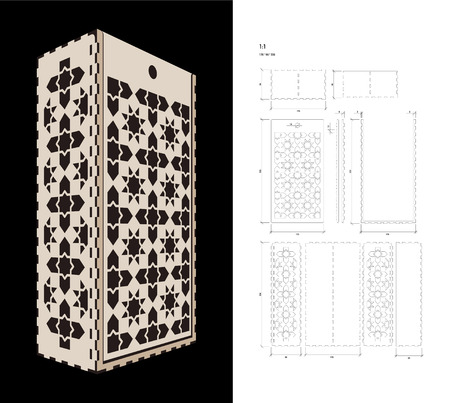 plywood: Cut out template for two bottles Wine gift slider Box or Wine  Glass Box (plywood 3 mm). Creative memory bottle pack with geometric design. Scheme is suitable for a laser cutting or printing