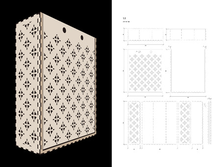plywood: Cut out template for three bottles Wine gift slider Box or Wine Glasses Box (plywood 3 mm). Creative memory bottle pack with geometric design. Scheme is suitable for a laser cutting or printing