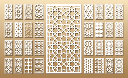 Tarjeta troquelada. Corte por láser 33 paneles vectoriales. Silueta del recorte con el patrón geométrico. Un cuadro conveniente para la impresión, el grabado, el papel del corte del laser, la madera, el metal, la fabricación de la plantilla.