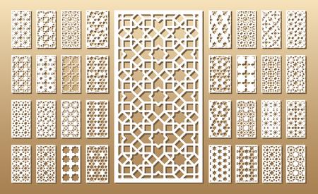 corte laser: Tarjeta troquelada. Corte por láser 33 paneles vectoriales. Silueta del recorte con el patrón geométrico. Un cuadro conveniente para la impresión, el grabado, el papel del corte del laser, la madera, el metal, la fabricación de la plantilla.