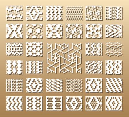 Carte découpée. Coupe laser 33 panneaux vectoriels. Silhouette découpée avec motif géométrique. Une image adaptée à l'impression, à la gravure, au découpe laser, au bois, au métal, à la fabrication de stencils. Banque d'images - 80507485
