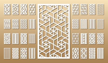 Carte découpée. Coupe laser 33 panneaux vectoriels. Silhouette découpée avec motif géométrique. Une image adaptée à l'impression, à la gravure, au découpe laser, au bois, au métal, à la fabrication de stencils. Vecteurs