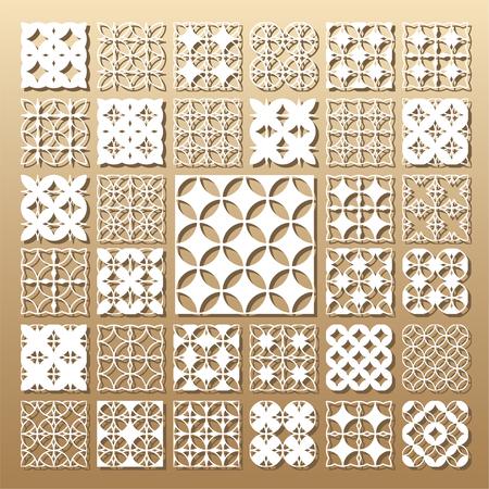 Tarjeta troquelada. Corte por láser 33 paneles vectoriales. Silueta del recorte con el patrón geométrico. Un cuadro conveniente para la impresión, el grabado, el papel del corte del laser, la madera, el metal, la fabricación de la plantilla. Foto de archivo - 80499130