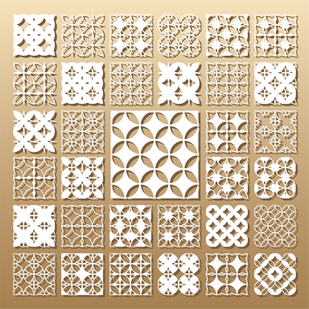Tarjeta troquelada. Corte por láser 33 paneles vectoriales. Silueta recortada con diseño geométrico. Una imagen adecuada para impresión, grabado, corte por láser de papel, madera, metal, fabricación de plantillas.