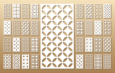 Die cut card. Laser cut 33 vector panels. Cutout silhouette with geometric pattern. A picture suitable for printing, engraving, laser cutting paper, wood, metal, stencil manufacturing. Stok Fotoğraf - 80499132