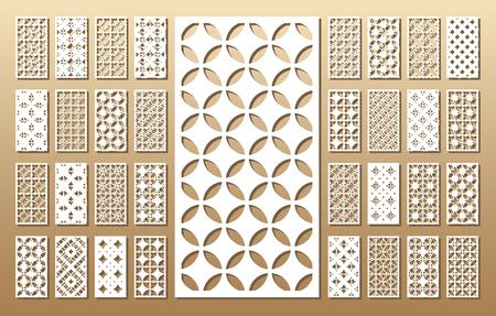 Gestanste kaart. Laser gesneden 33 vectorpanelen. Knipselsilhouet met geometrisch patroon. Een foto geschikt voor afdrukken, graveren, lasersnijden van papier, hout, metaal, stencilproductie.