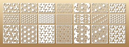 컷 카드를 죽으십시오. 레이저는 21 개의 벡터 패널을 자릅니다. 기하학적 인 패턴으로 컷 아웃 실루엣입니다. 인쇄, 판화, 레이저 커팅 페이퍼, 목재,  일러스트
