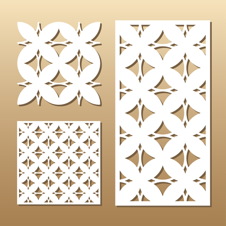 plotter: Die cut card. Laser cut vector panel. Cutout silhouette with geometric pattern.