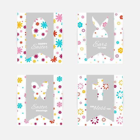 Template of Easter greeting cards. Grey isolated layer on top individualized with a cut out silhouettes of egg.