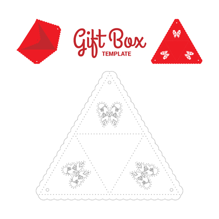 plotter: Cut out template for Party Favor Treat Gift Box triangle form. No glue. Negative space in the butterfly forms filled with flowers. Illustration