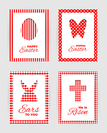 Template of Easter  greeting cards. White isolated layer on top individualized with a cut out easter silhouettes of egg, hare,  butterfly and cross.