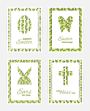 Template of Easter greeting cards. White isolated layer on top individualized with a cut out silhouettes of egg, hare,  butterfly and cross.