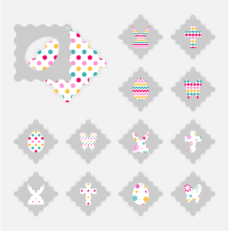 Template of Easter gift tags. Grey isolated layer on top individualized with a cut out easter silhouettes of egg, hare,  butterfly, cross. Illustration