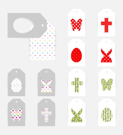 Template of Easter gift tags. Grey isolated layer on top individualized with a cut out silhouettes of egg, hare,  butterfly and cross. Illustration