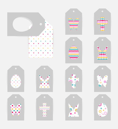 Template of Easter gift tags. Grey isolated layer on top individualized with a cut out silhouettes of egg, hare,  butterfly, cross.