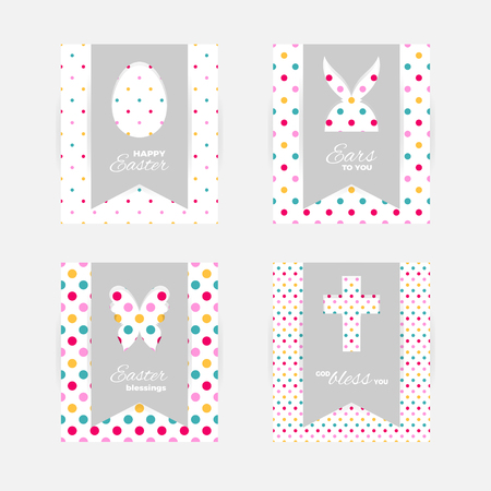 Template of Easter greeting cards. Grey isolated layer on top individualized with a cut out silhouettes of egg, hare, butterfly, cross..