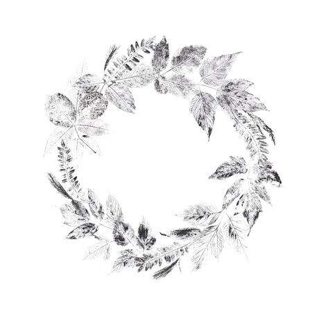 本性印刷。ユニークな手作りの葉スタンプ。植物のテクスチャの葉の組成物。画像は、印刷、テキスタイル、インテリア デザインに適しています。