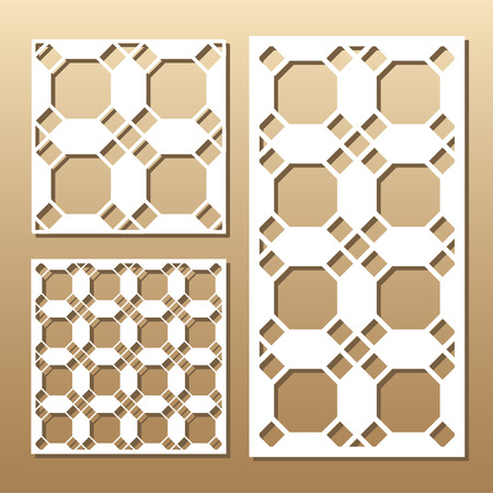 suitable: Die cut card. Laser cut vector panel. Cutout silhouette with geometric pattern. A picture suitable for printing, engraving, laser cutting paper, wood, metal, stencil manufacturing.