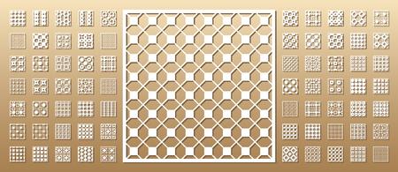 컷 카드를 죽으십시오. 레이저 컷 70 개의 벡터 패널. 기하학적 인 패턴으로 컷 아웃 실루엣입니다. 인쇄, 판화, 레이저 커팅 페이퍼, 목재, 금속, 스텐실 일러스트