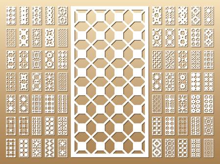 Die cut card. Laser cut 70 vector panels. Cutout silhouette with geometric pattern. A picture suitable for printing, engraving, laser cutting paper, wood, metal, stencil manufacturing. Ilustração Vetorial