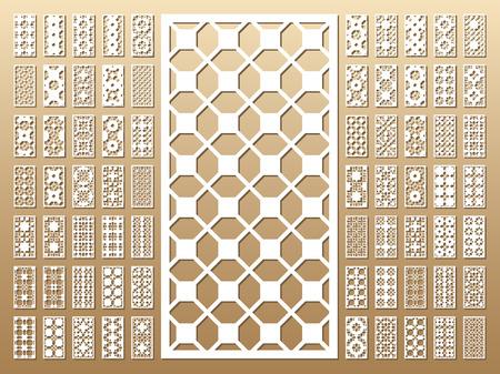 Tarjeta troquelada. Corte por láser 70 paneles vectoriales. Silueta del recorte con el patrón geométrico. Un cuadro conveniente para la impresión, el grabado, el papel del corte del laser, la madera, el metal, la fabricación de la plantilla. Foto de archivo - 82065993