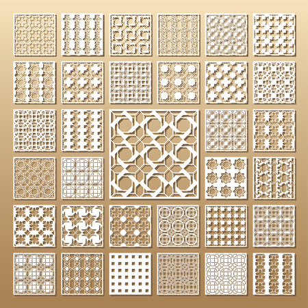 33 panels. Cutout silhouette with Arabic (girih geometric)  pattern. A picture suitable for printing invitations, laser cutting (engraving) stencil, wood and metal decorations. Ilustração