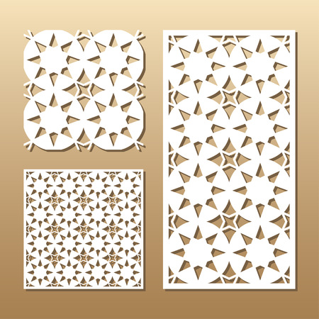 Die cut card. Laser cut panel. Cutout silhouette with a geometric seamless pattern. A picture suitable for printing, engraving, laser cutting paper, wood, metal, stencil manufacturing.