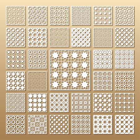 33 panels. Cutout silhouette with Arabic (girih geometric) pattern. A picture suitable for printing invitations, laser cutting (engraving) stencil, wood and metal decorations.
