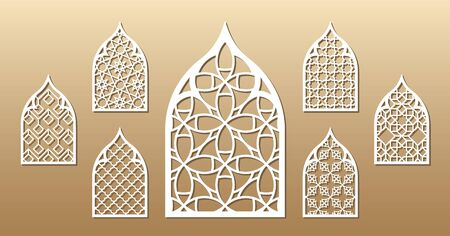 7 vector archs. Cutout silhouette with arabic pattern. Template is suitable for creating home or wall decor (wood and metal decorations), laser cutting (engraving) stencil, printing invitations. 向量圖像